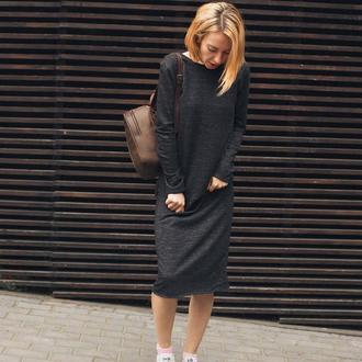 Двусторонее платье, платье меланж, черное платье миди, полоска, трикотажное платье