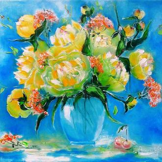 Картина маслом. Пионы цвета солнца. 50х60 см. Авторская картина с пионами.