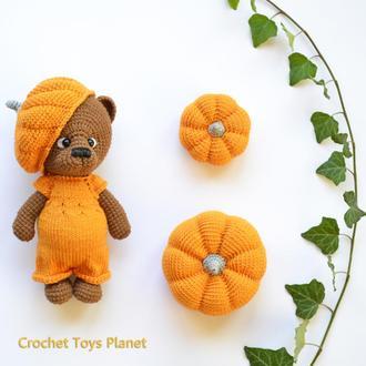 Набір іграшок Ведмедик в'язаний гачком Гарбузики Подарунок Halloween Crochet bear Crochet pumpkins