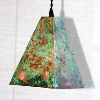 Подвесной светильник из меди, основание квадрат (с патиной)