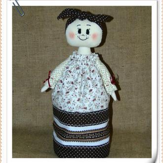 Баба-грелка на чайник СОЛОХА, коричневая в народном стиле ручной работы