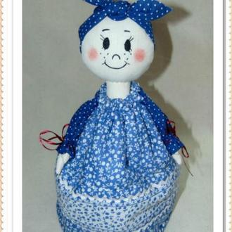 Баба-грелка для чайника в народном стиле СИНЯЯ  (интерьерная кукла)