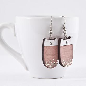 Сережки котики, Подарок девушке, Розовые серьги с блестками