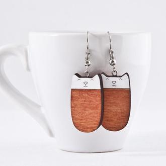 Сережки котики, Подарок девушке, Оранжевые серьги