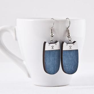 Сережки котики, Подарок девушке, Синие серьги