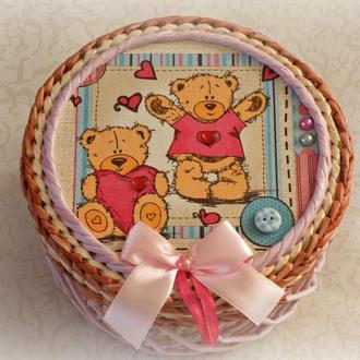 "Плетеная шкатулка ""Мишка Теди"""