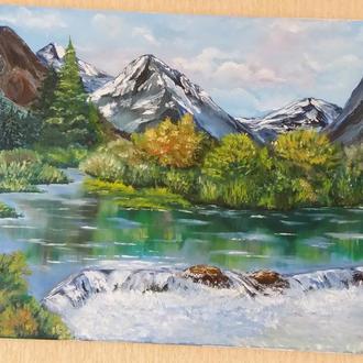 """""""Горный пейзаж"""" живопись маслом, картина природа"""