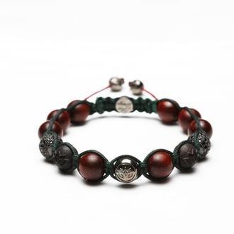 Мужской браслет Lotus Design из сандалового и эбенового деревьев, серебра 925 пробы в черном родие