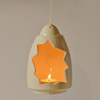 Белый керамический подвесной ночник, светильник для свечи, подсвечник для чайных свечей, подарок