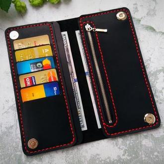 Мужское портмоне, кожаний кошелек с отделом на молнии и на магнитах