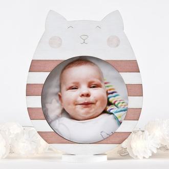 Детская фоторамка, Розовый декор в детскую, Фоторамка котик
