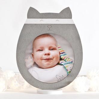Детская фоторамка, Серый декор в детскую, Фоторамка котик