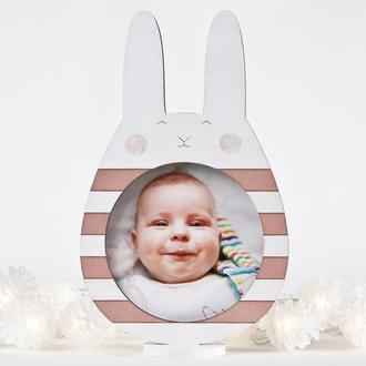 Розовая фоторамка зайчик, Декор в детскую для девочки