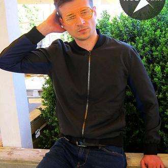 Стильна куртка бомбер, чоловіча вітровка / колір синій, чорний/