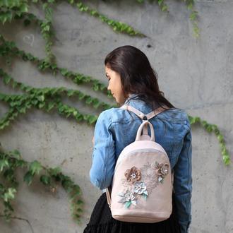 Женский кожаный рюкзак, молодежный рюкзак, повседневный кожаный рюкзак, рюкзак с цветами