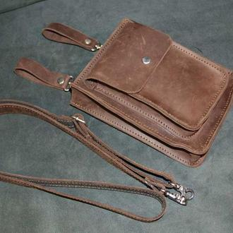 Маленькая сумка-барсетка из натуральной кожи Crazy Horse (шоколад)