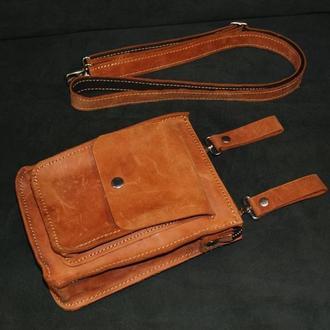 Маленькая сумка-барсетка из натуральной кожи Crazy Horse (коньяк)