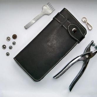Кожаный кошелек mantools x4 (черный)