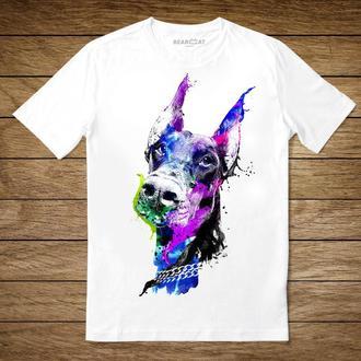 """Унисекс футболка с принтом """"Доберман"""""""