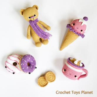 Набір в'язаних  іграшок Ведмедик Морозиво Пончики Чашка кави Печиво В'язані солодощі