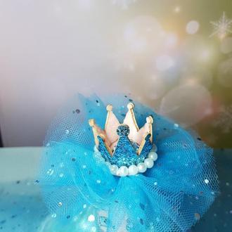 Обруч Корона заколка. Голубая