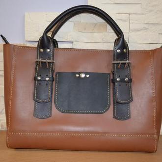 Двухцветный  коричнево-черный Стильный кожаный шоппер.
