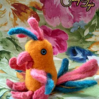 Веселый цветастый попугай (валяные мягкие игрушки из английской шерсти)