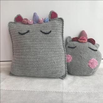 """Интерьерные вязаные подушки в стиле """"Единорог"""""""