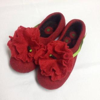 Красные валяные тапки Женские домашние тапочки с маками