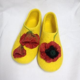 Желтые валяные тапочки Теплые тапки для дома