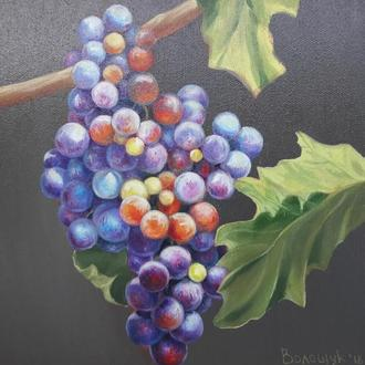 Гроно винограда, картина маслом, авторская живопись размером 24х24см