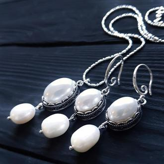Комплект з натуральними перлами та перлами Майорка комплект украшений с жемчугом