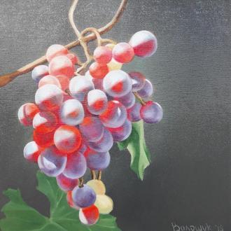 Розовый виноград,  картина маслом, авторская живопись размером 24х24см