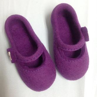 Детские валяные тапочки Комнатные тапки для девочки 100% шерсть