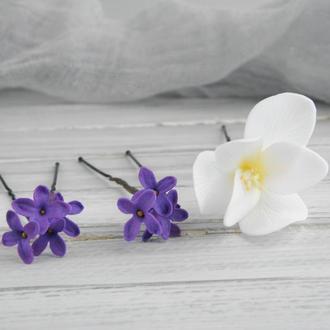 Шпильки Фрезия и сирень, Заколка с маленькими цветами, Цветы в прическу