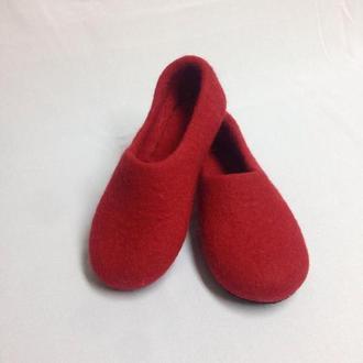 Красные комнатные тапки Женские валяные тапочки Шерсть войлок 100%