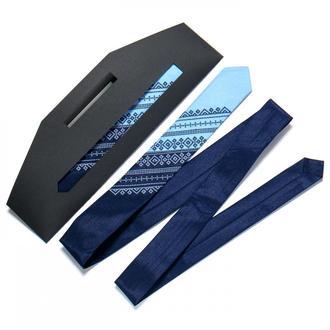 Галстук с вышивкой Сине-голубой дуэт (узкий)