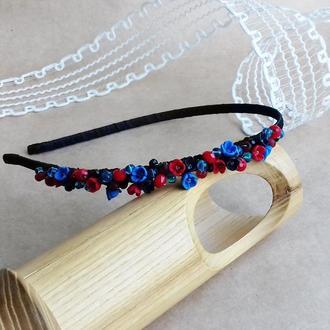 Обруч с цветами, красно синий цветочный обруч, аксессуары для волос, подарок девушке