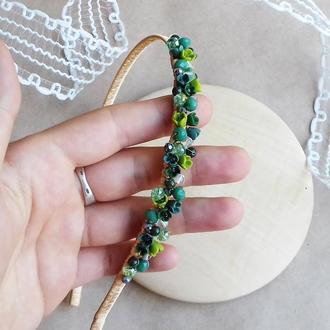 Зеленый обруч с цветами, цветочный обруч, украшение для волос, аксессуары для волос, подарок девушке