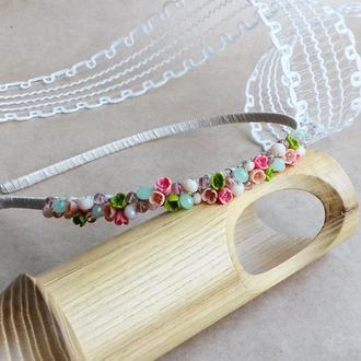 Нежный обруч с цветами, цветочный обруч, украшение для светлых волос, подарок девушке