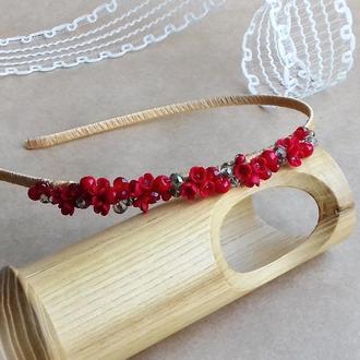 Обруч с красными миниатюрными цветами, украшение для волос, аксессуары для волос, подарок девушке