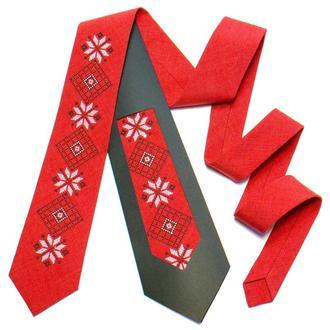 Вышитый галстук №736, Оригинальный подарок директору, Сувенир из Украины