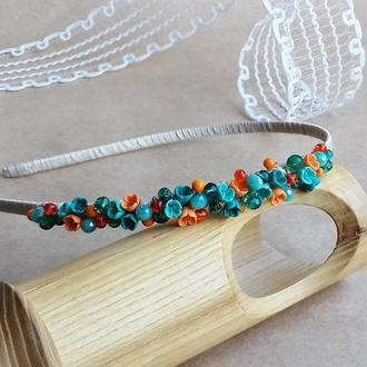 Бирюзово оранжевый обруч с миниатюрными цветами, цветочный обруч,украшение для волос,подарок девушке
