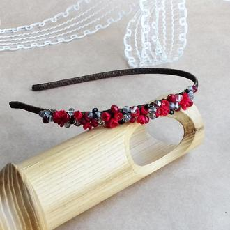 Обруч  с цветами, красный обруч, цветочное украшение, аксессуары для волос, подарок для девушки