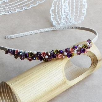 Обруч с миниатюрными цветами, цветочный обруч, цветочное украшение для волос, подарок девушке