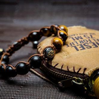 Браслет Lotus Design (унисекс) с тигровым глазом, эбеновым деревом, серебра 925 пробы в черном родие