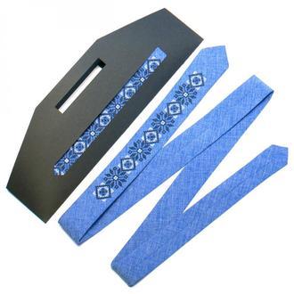 Узкий вышитый галстук №734, Современной этно, Подарок коллеге