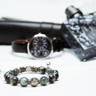 Мужской браслет Lotus Design с соколиным глазом и серебром 925 пробы