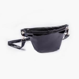 Сумка на пояс, поясная сумка, латексная бананка черного цвета