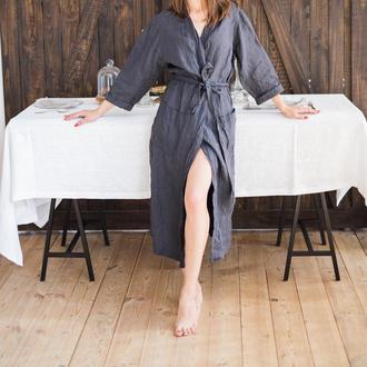 Домашний льняной халат